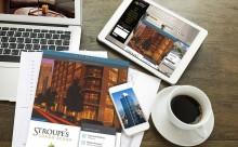 magazines coffee laptop