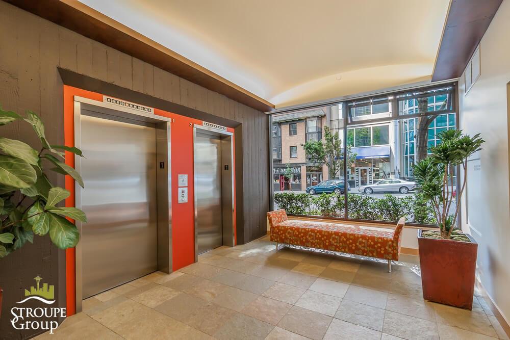 Market Place North condos Seattle elevator lobby