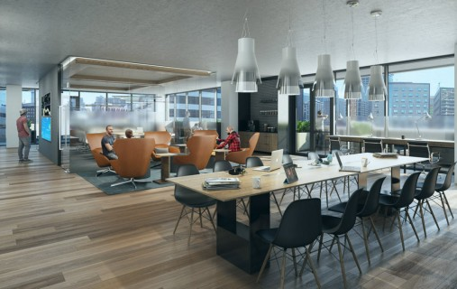 Rendering of the co-working space.