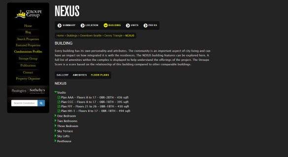 nexus floor plans building profile