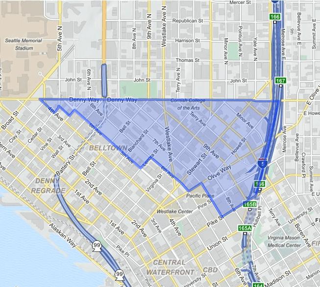 denny-triangle  neighborhood map